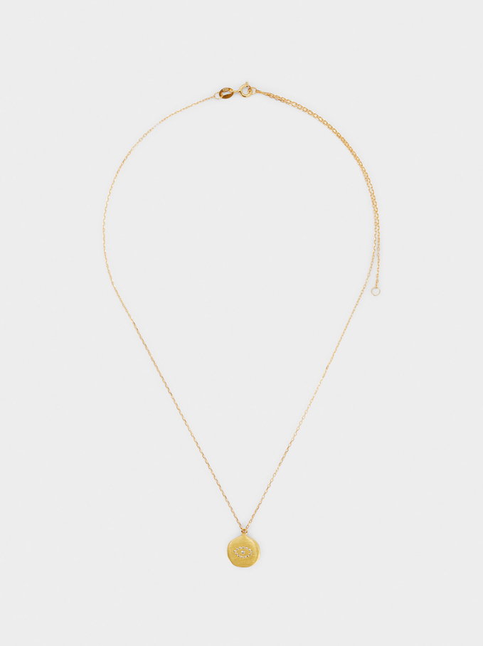 Short 925 Silver Necklace With Eye, Golden, hi-res
