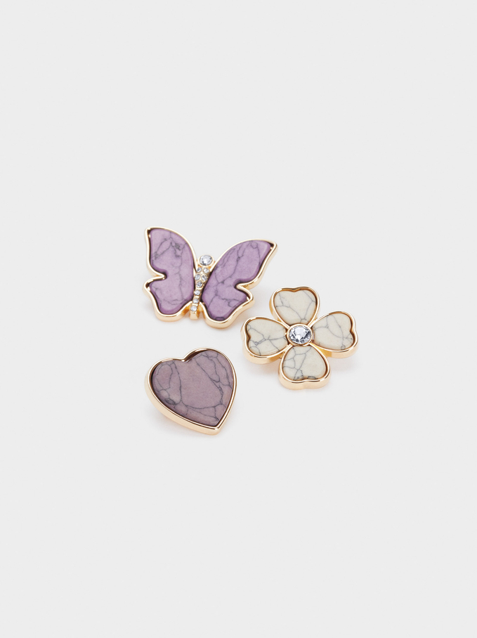 Set Of Brooches With Shell And Crystals, Purple, hi-res