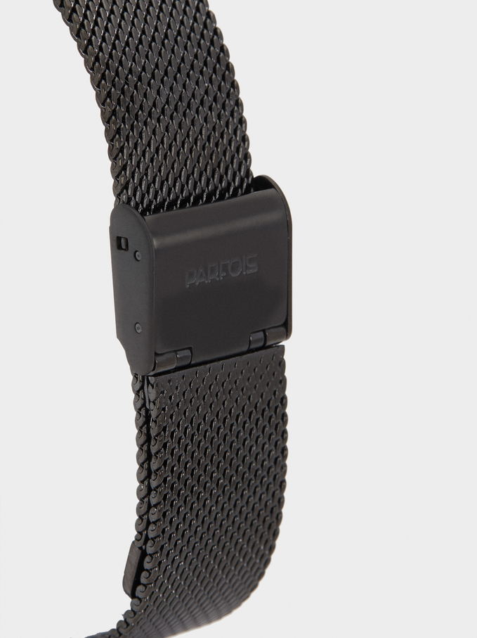 Watch With Stainless Steel Mesh Strap, Black, hi-res