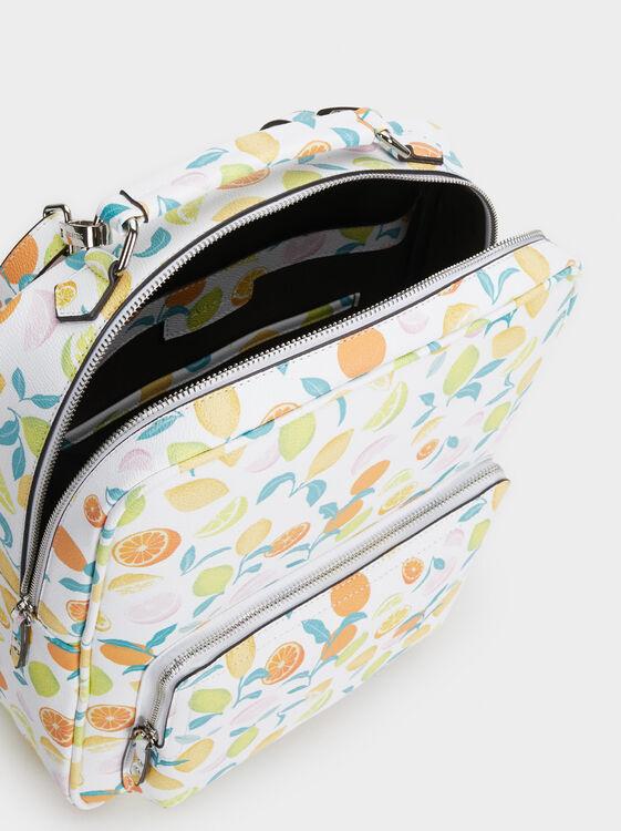 Fruit Print Backpack, Orange, hi-res