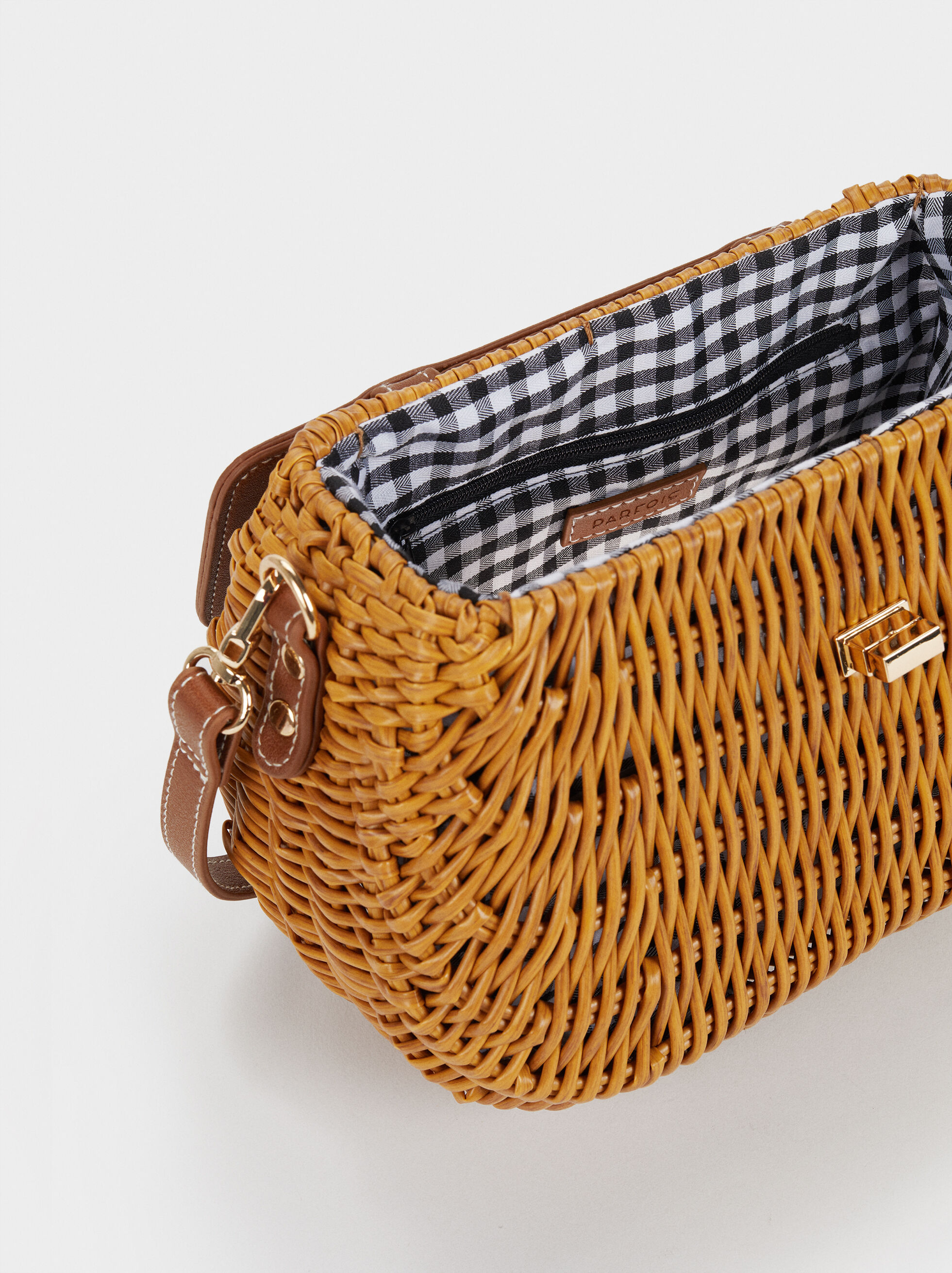 Straw Crossbody Bag With Gingham Lining, Camel, hi-res