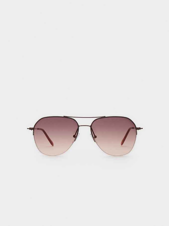 Aviator Sunglasses, Brown, hi-res