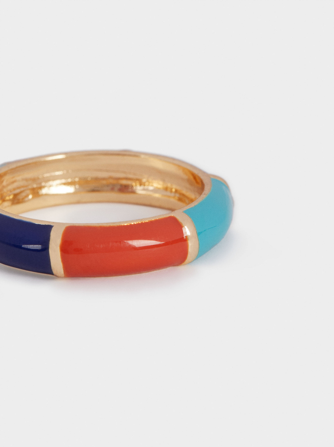 Multicoloured Enamel Ring, Multicolor, hi-res
