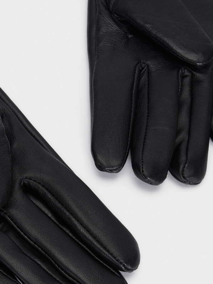 Leather Gloves With Fringe Detail, Black, hi-res