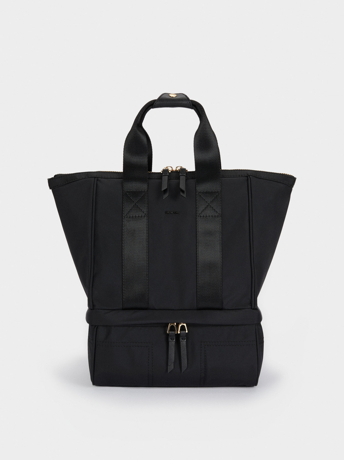 Nylon Lunch Bag, Black, hi-res