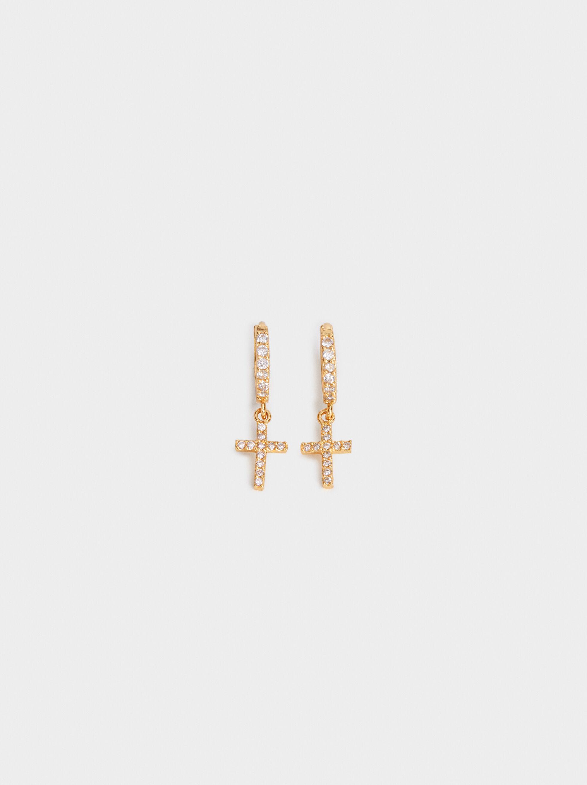Small 925 Silver Hoop Earrings With Cross, , hi-res