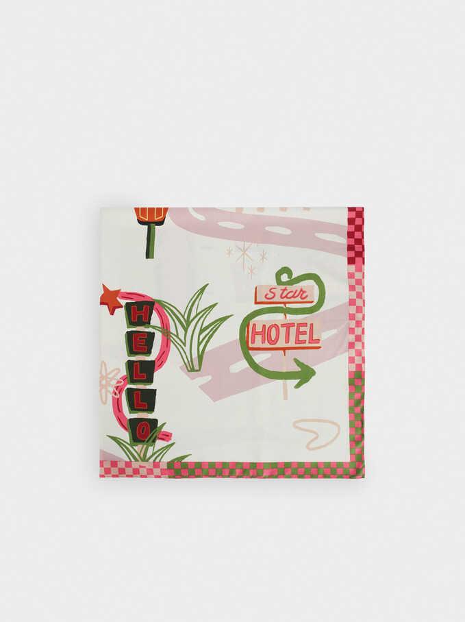 Pañuelo Cuadrado Estampado Fabricado Con Materiales Reciclados, Rosa, hi-res