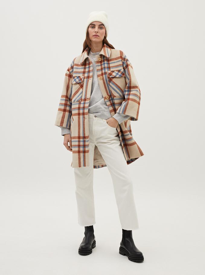 Check Print Wool Coat, Ecru, hi-res