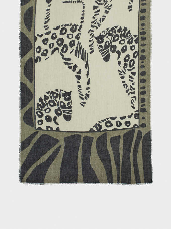 Animal Print Scarf, Green, hi-res