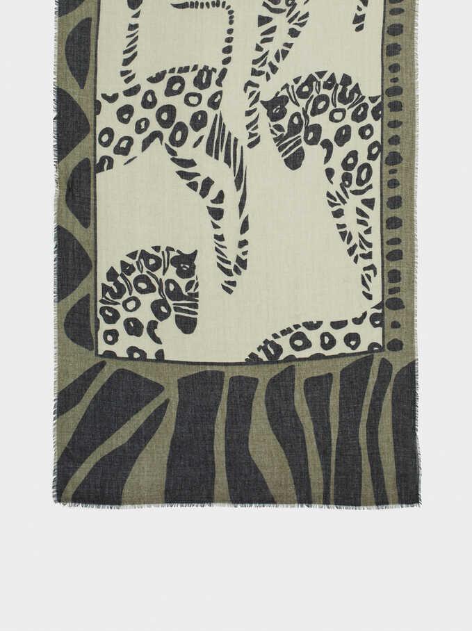 Pañuelo Estampado De Animales, Verde, hi-res