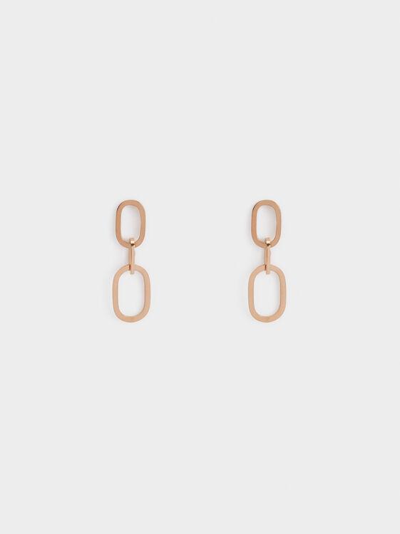 Medium Steel Chain Link Earrings, , hi-res
