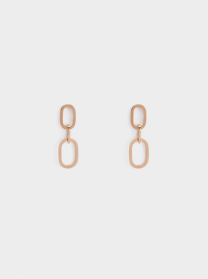 Medium Steel Chain Link Earrings, Orange, hi-res