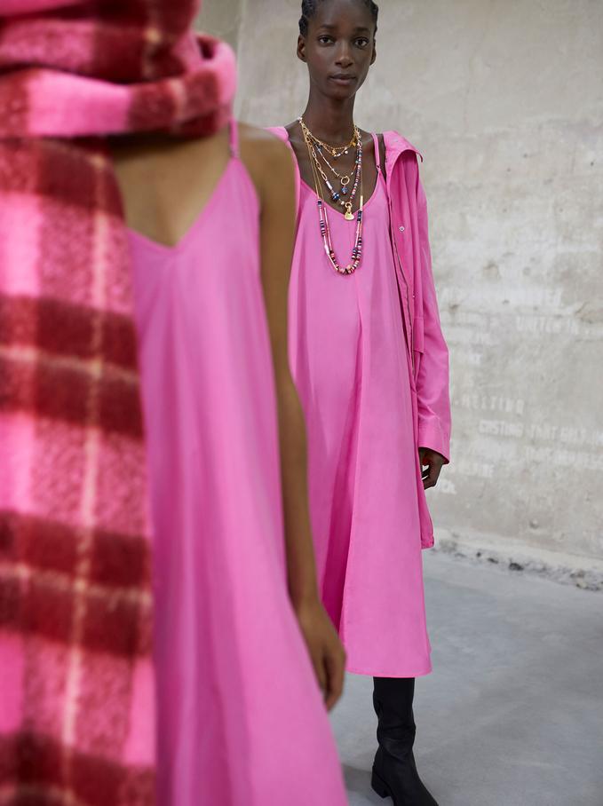 Vestido De Tirantes Con Cuello De Pico, Rosa, hi-res