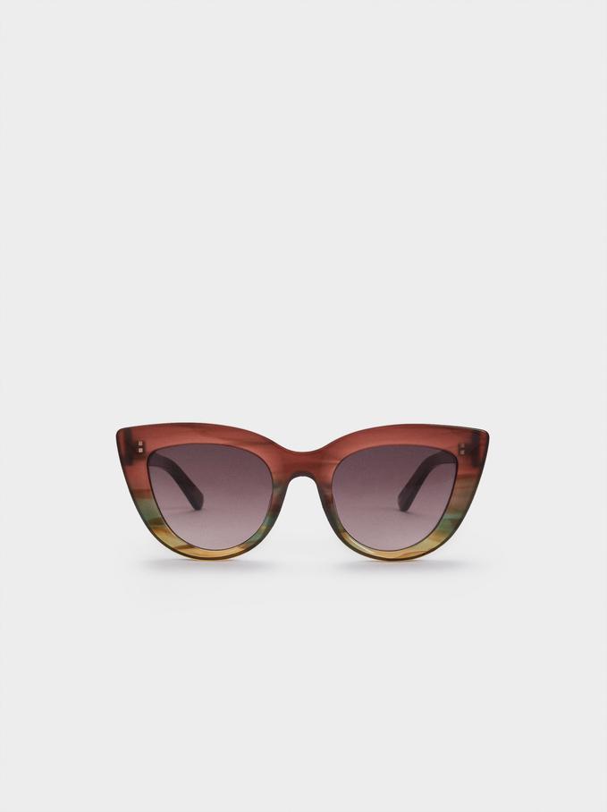 Cat Eye Sunglasses With Plastic Frames, Multicolor, hi-res