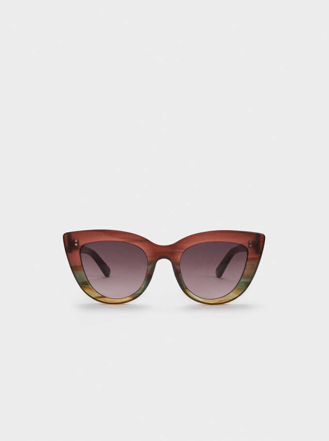 Cat Eye Sunglasses With Plastic Frames, Multicolor, hi-res
