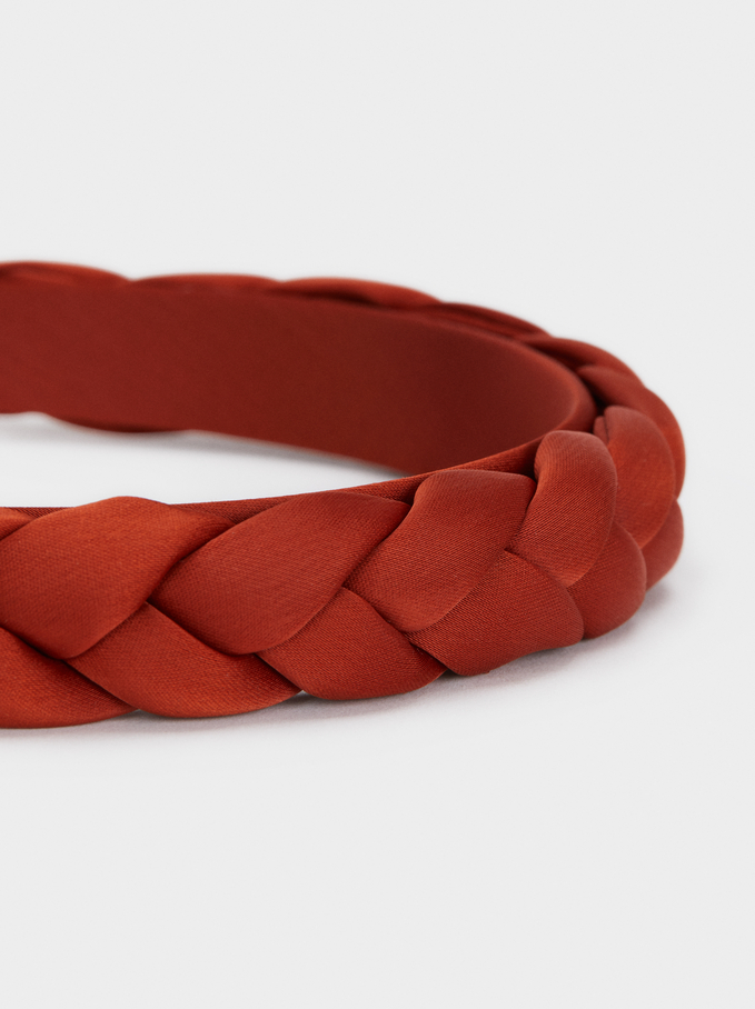 Braided Headband, Brick Red, hi-res