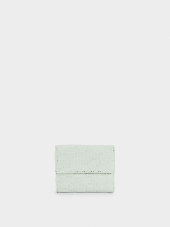 Embossed Card Holder With Coin Purse, Green, hi-res