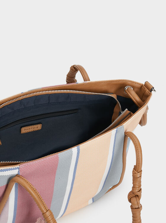 Striped Tote Bag, Pink, hi-res