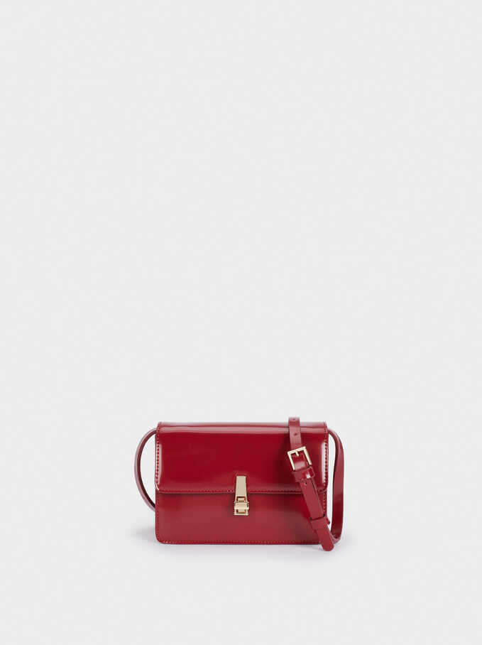 Party Crossbody Bag With Flap Fastening, Red, hi-res