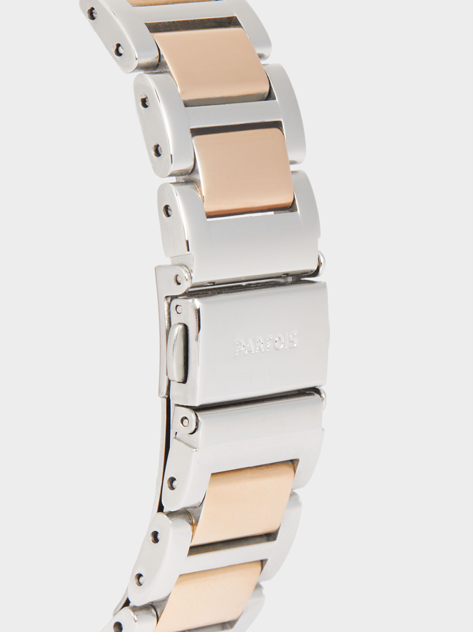 Watch With Two-Toned Steel Strap, Orange, hi-res
