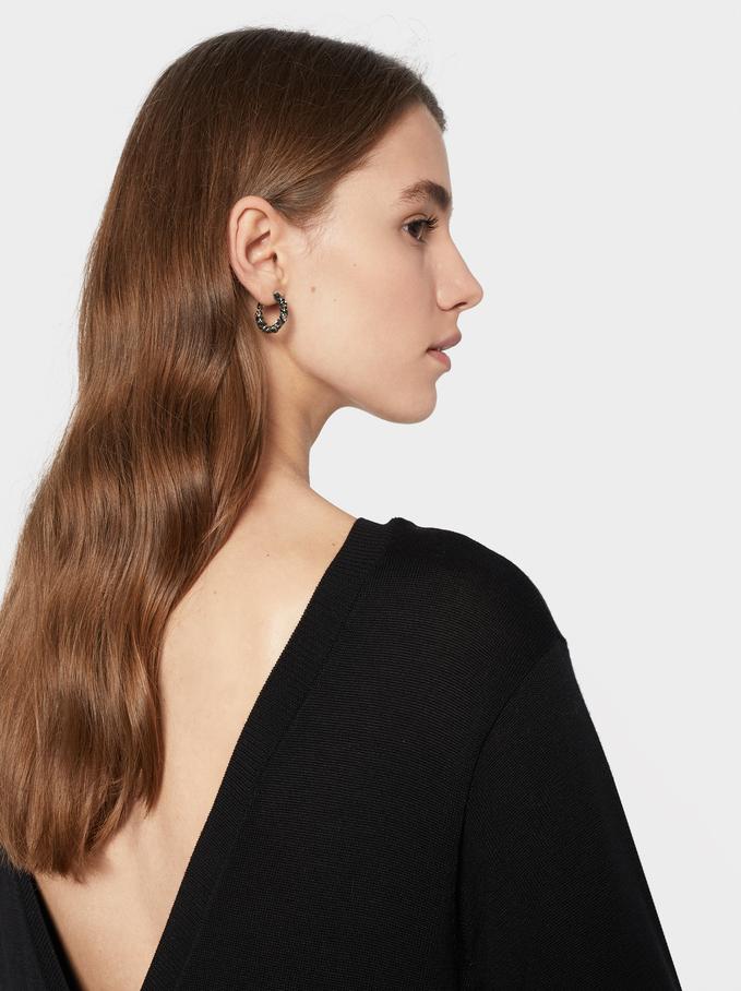 V-Neck Dress, Black, hi-res