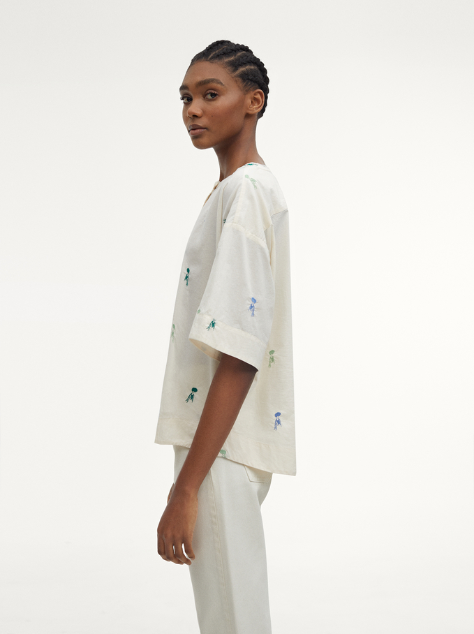 100% Cotton Shirt With Embroidery, Ecru, hi-res