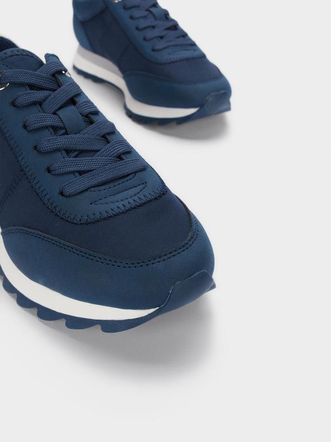 Tennis En Matières Variées, Bleu Foncé, hi-res