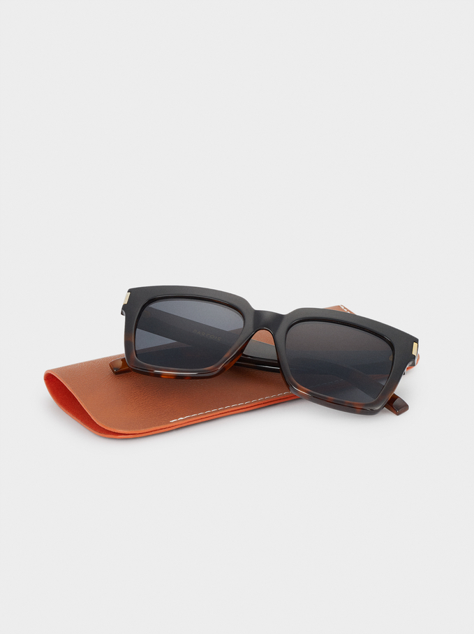 Sunglasses With Square-Cut Frames, Brown, hi-res