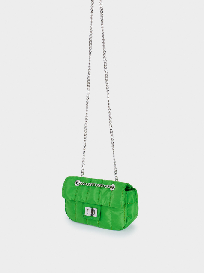 Quilted Nylon Crossbody Bag, Green, hi-res
