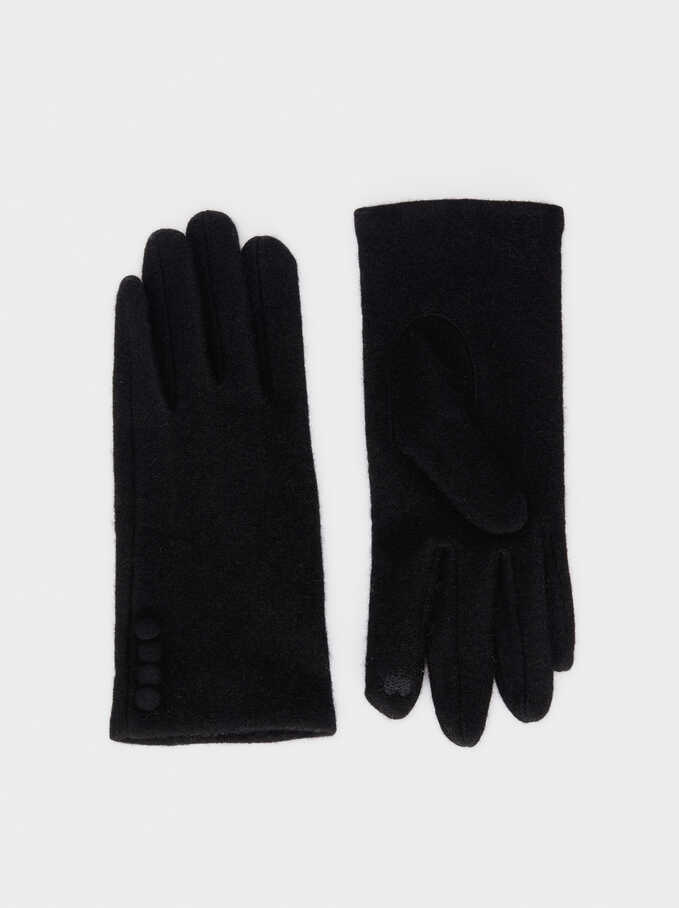 Wool Gloves, Black, hi-res