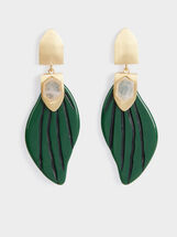 Stone Story Long Leaf Earrings, Multicolor, hi-res