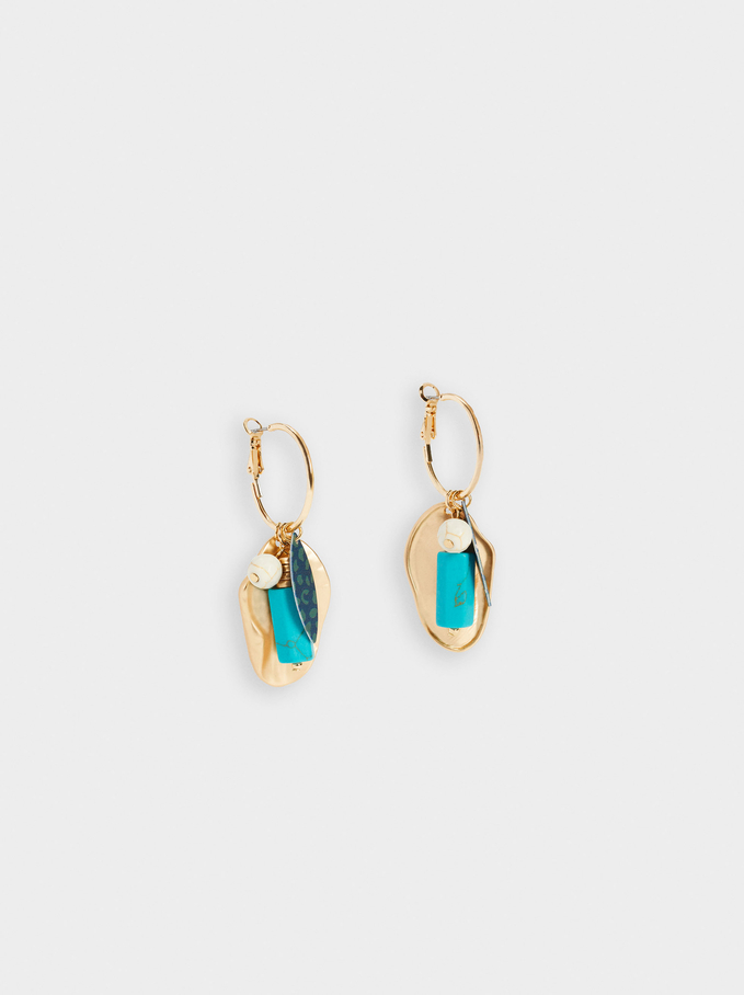 Long Earrings With Stone, Multicolor, hi-res