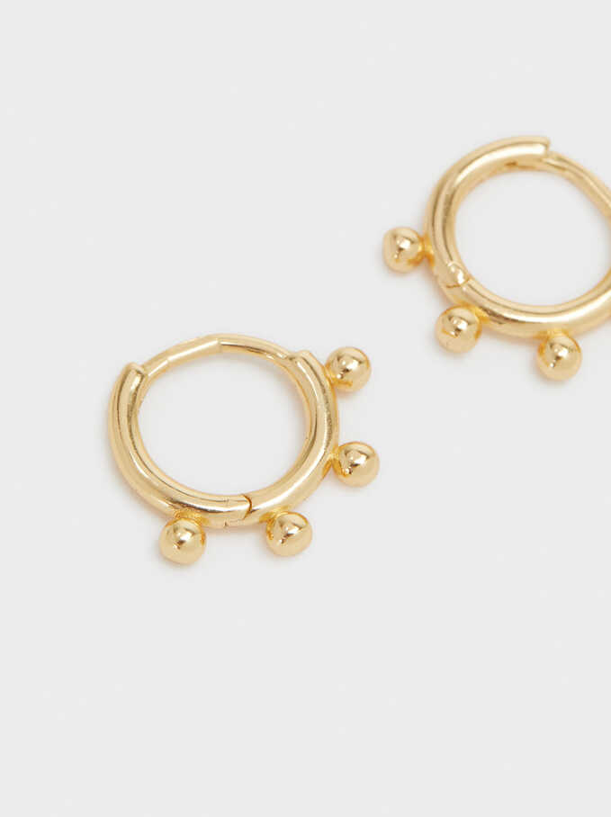 925 Sterling Silver Small Hoop Earrings, Golden, hi-res