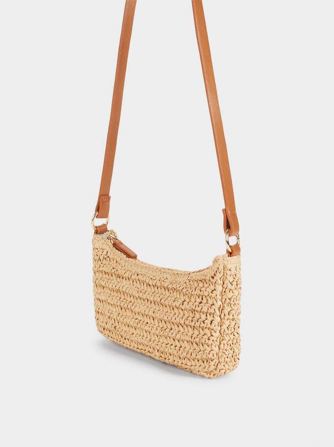 Braided Shoulder Bag, Ecru, hi-res