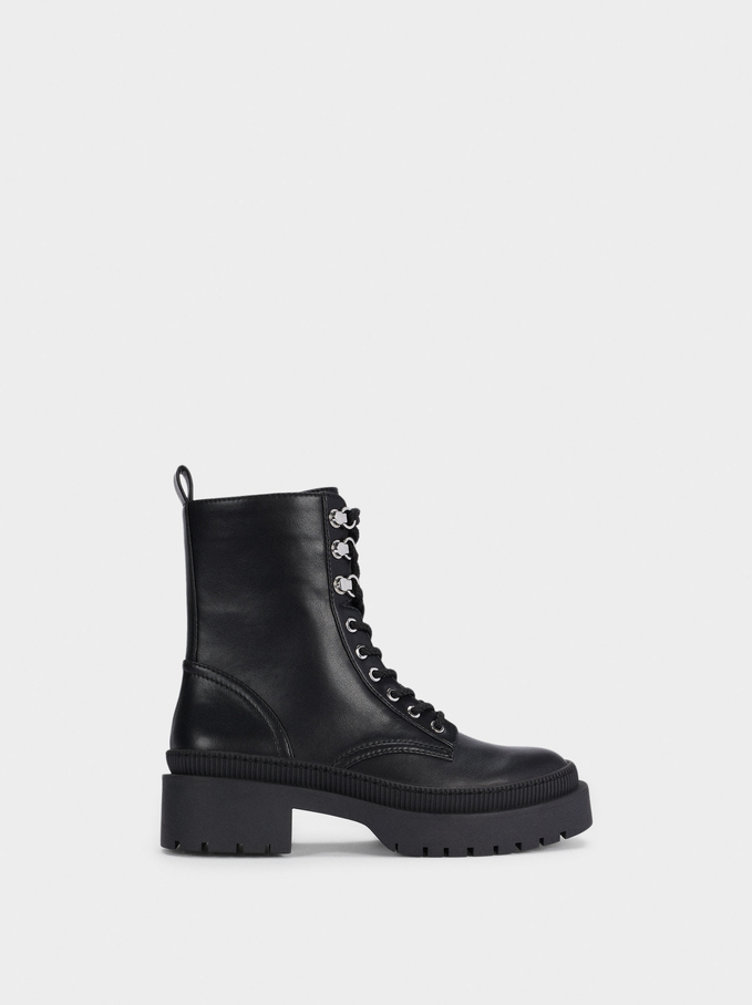 Laces Military Boots, Black, hi-res