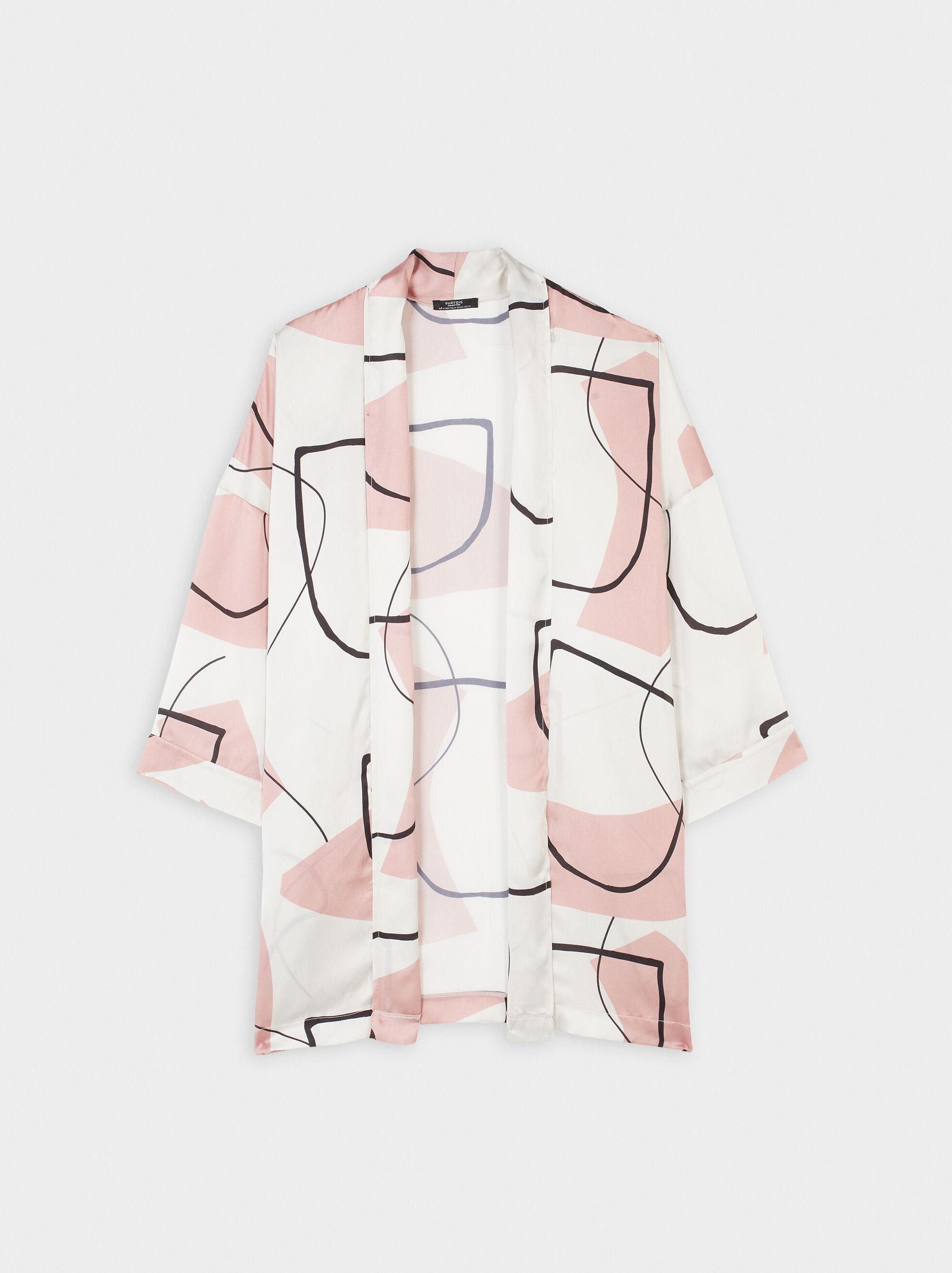 Short-Sleeved Printed Kimono, Pink, hi-res