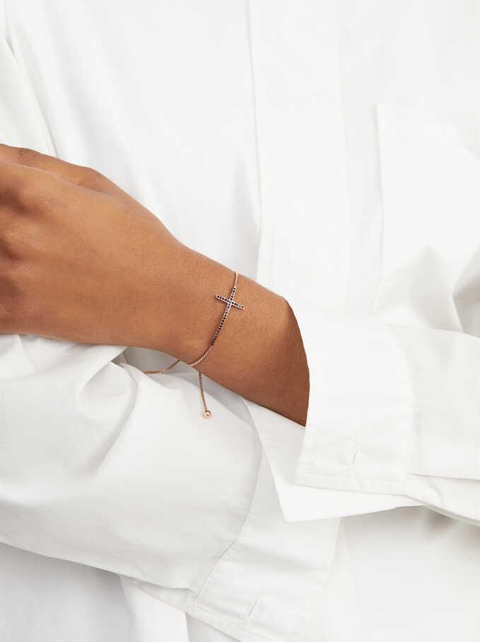 Adjustable Stainless Steel Bracelet With Gemstones, Orange, hi-res