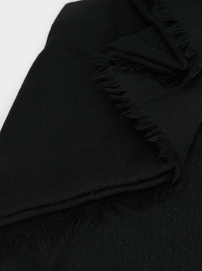 Plain Pashmina, Black, hi-res