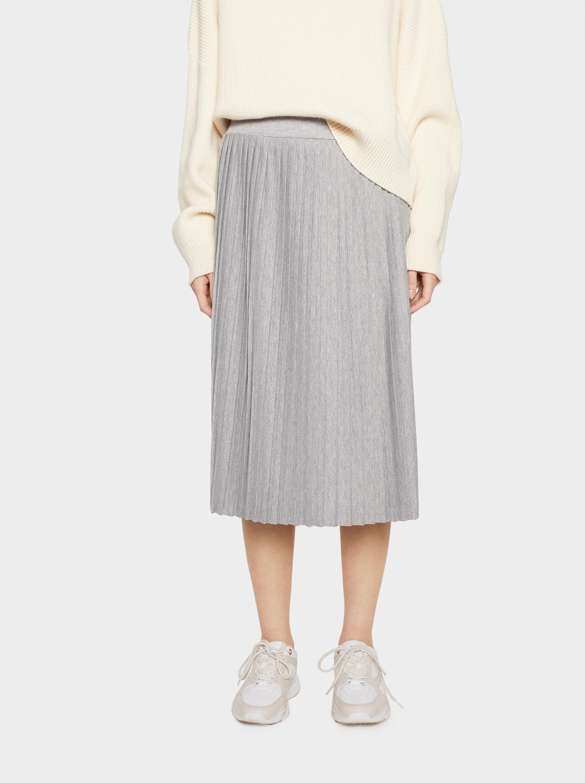 Plain Pleated Skirt, Grey, hi-res