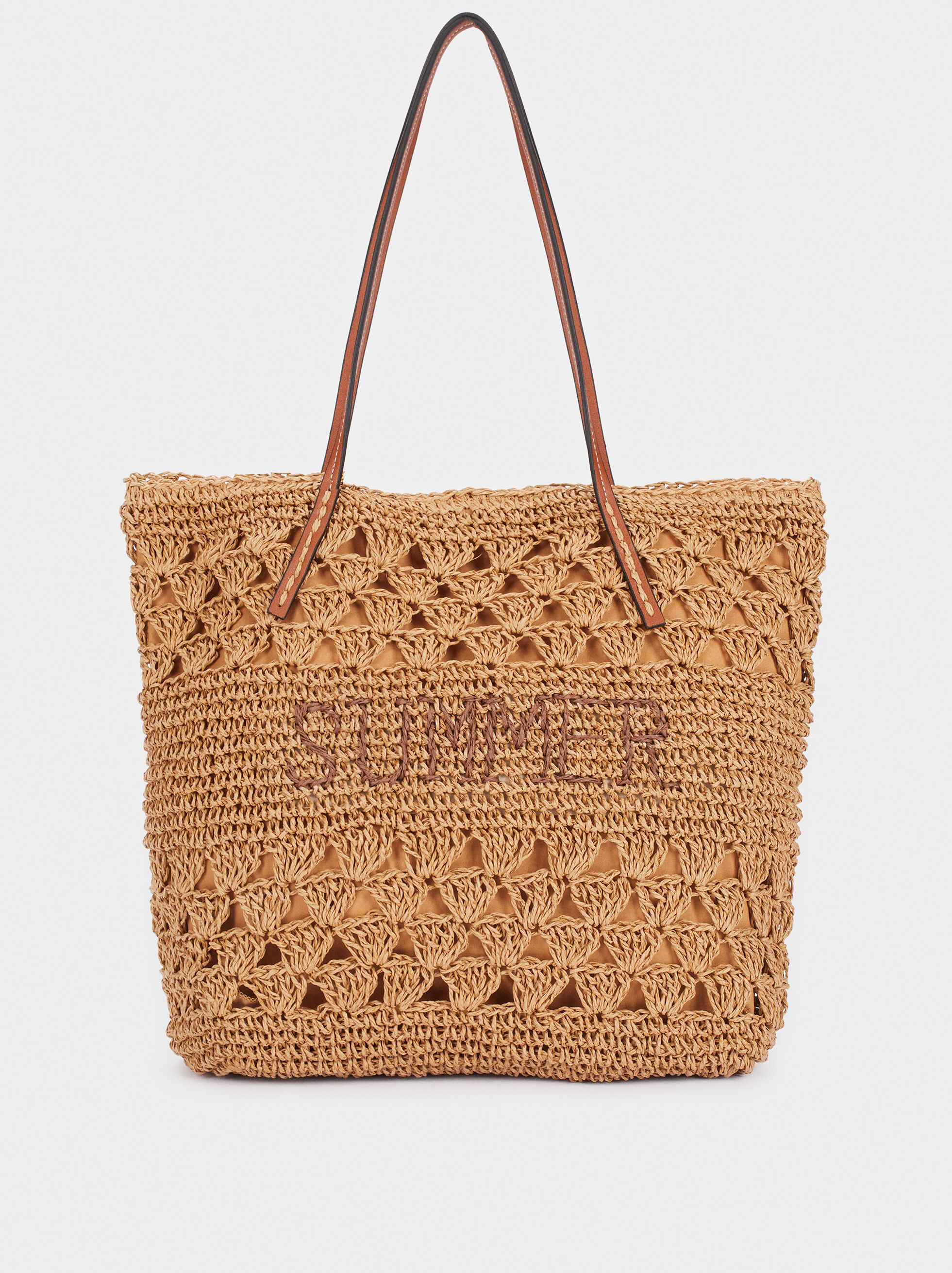 Raffia Textured Shoulder Bag, Beige, hi-res