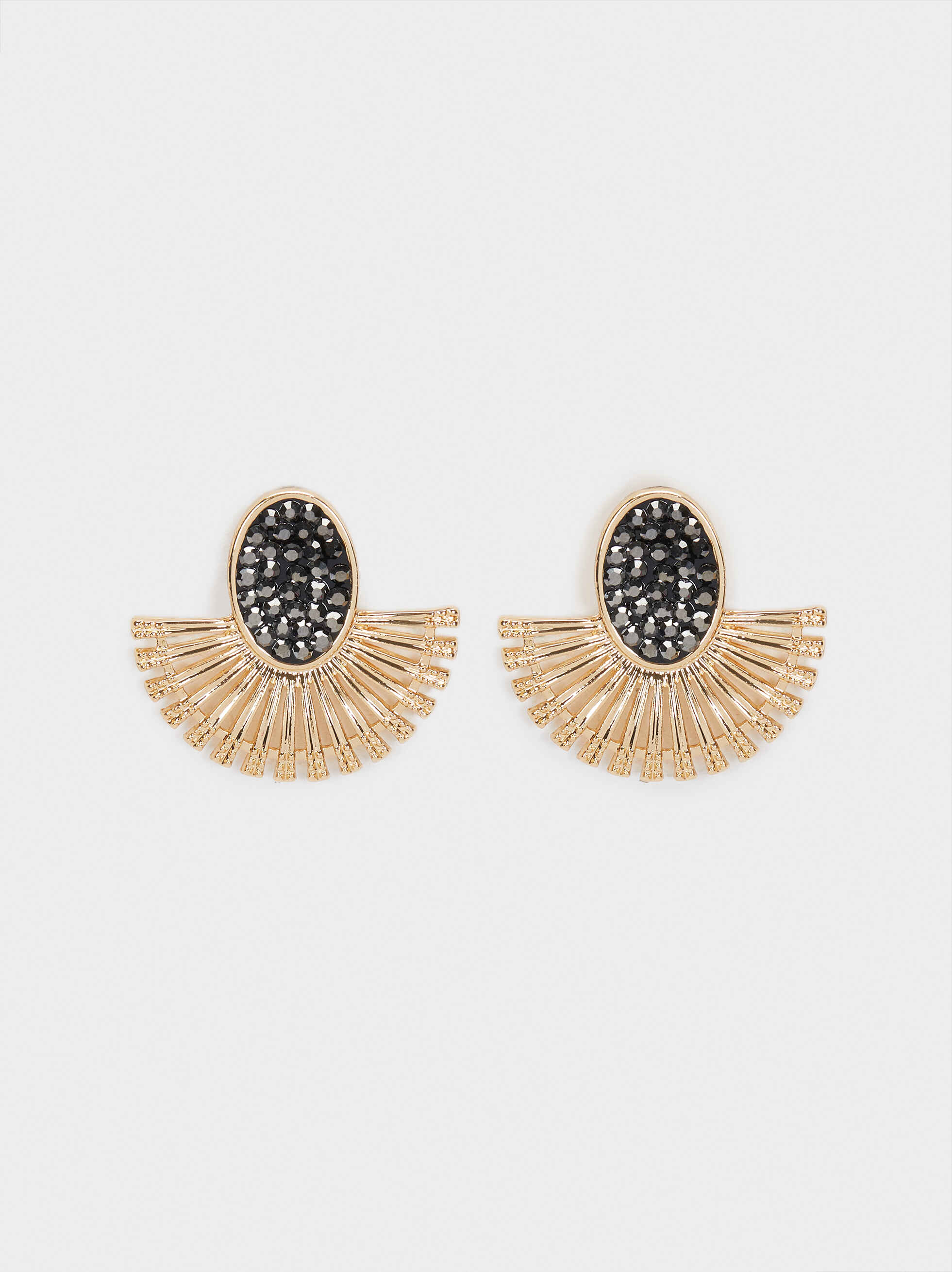 Small Golden Earrings With Stones, , hi-res