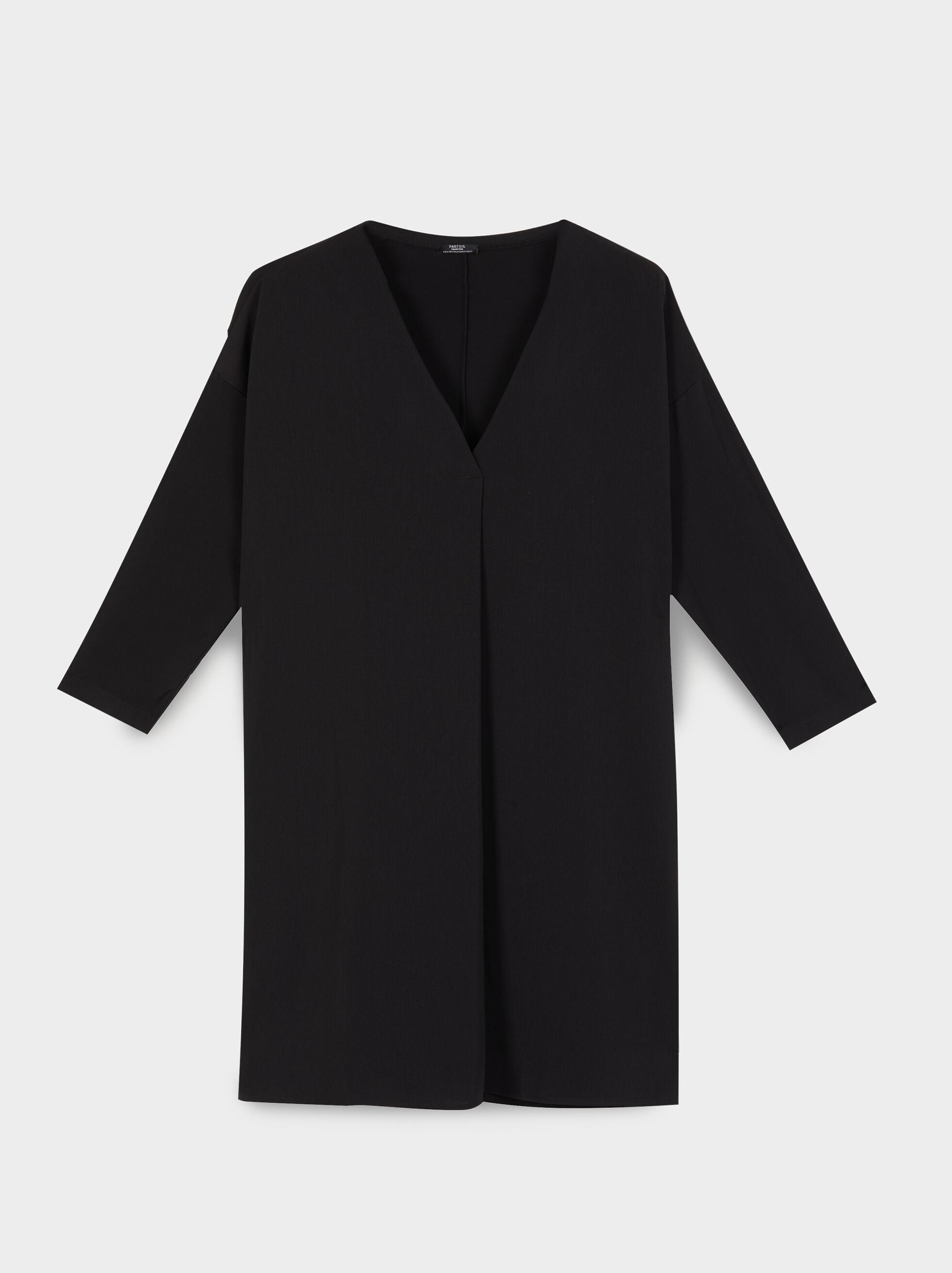 Dress With V-Neckline, Black, hi-res
