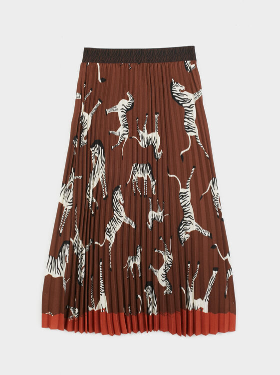 Zebra Print Pleated Skirt, Brown, hi-res