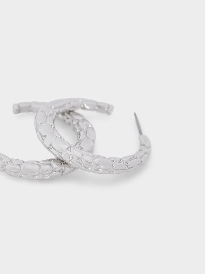 Short Silver Hoop Earrings, Silver, hi-res