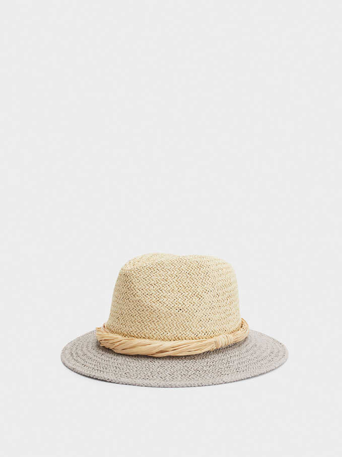 Braided Hat With Contrast Band, Grey, hi-res