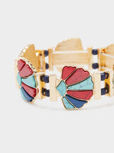 Gold Elastic Bracelet , Multicolor, hi-res
