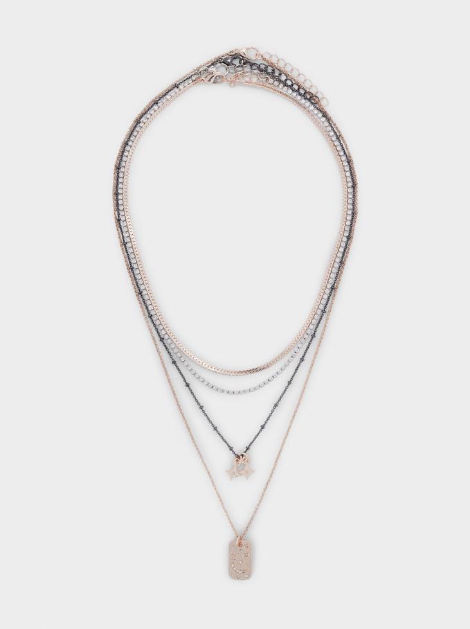 Conjunto De Collares Combinados Con Charms, Naranja, hi-res
