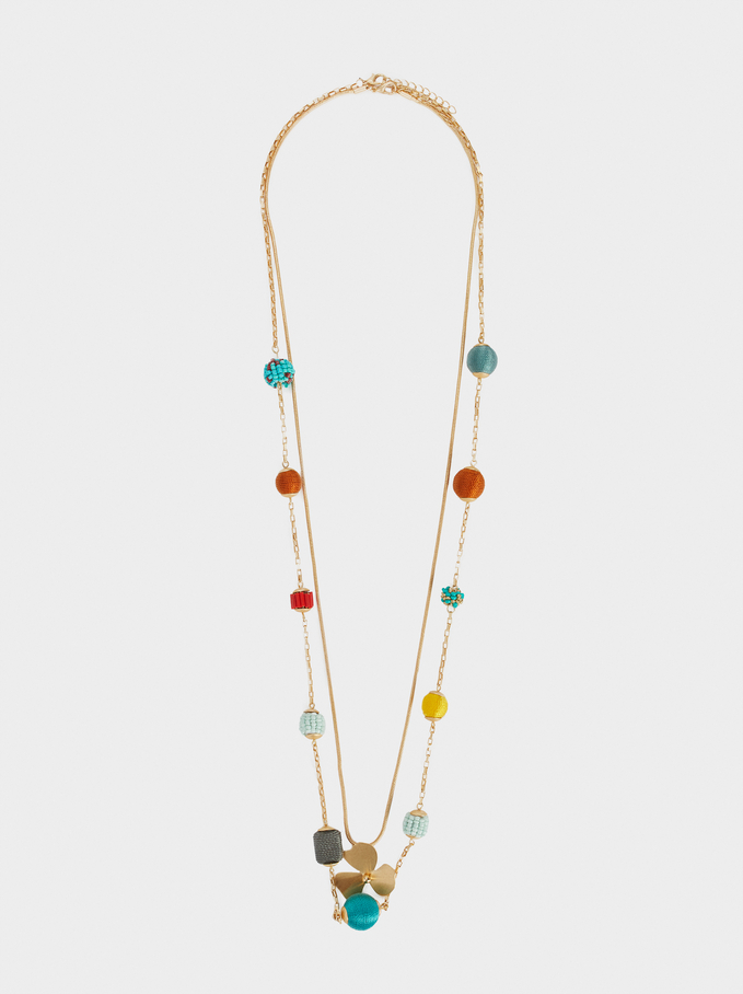 Cherry Blossom Long Necklace With Beads, Multicolor, hi-res
