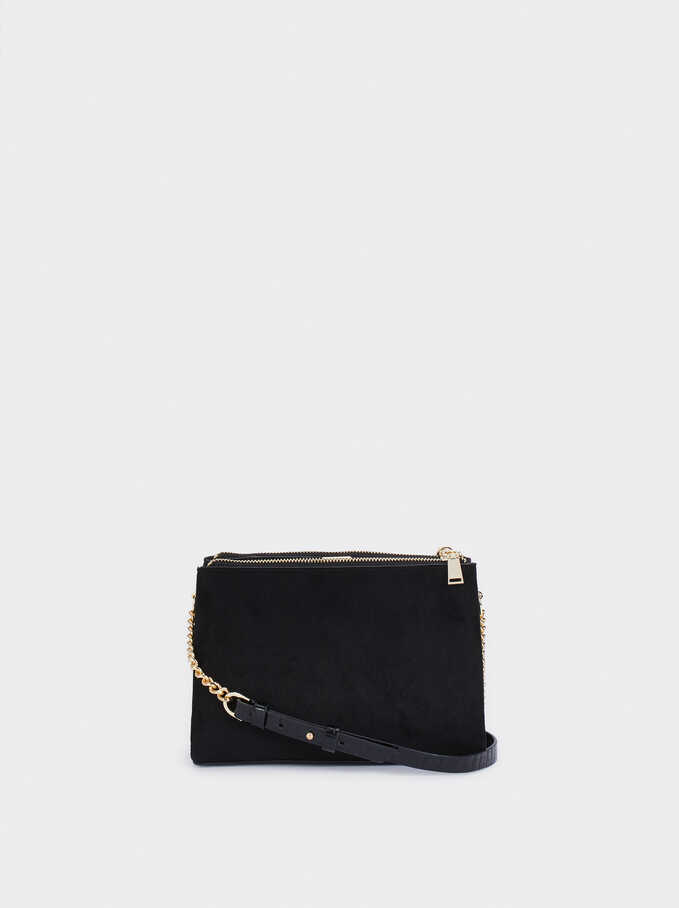 Faux Suede Crossbody Bag With Embossed Animal Print Strap, Black, hi-res