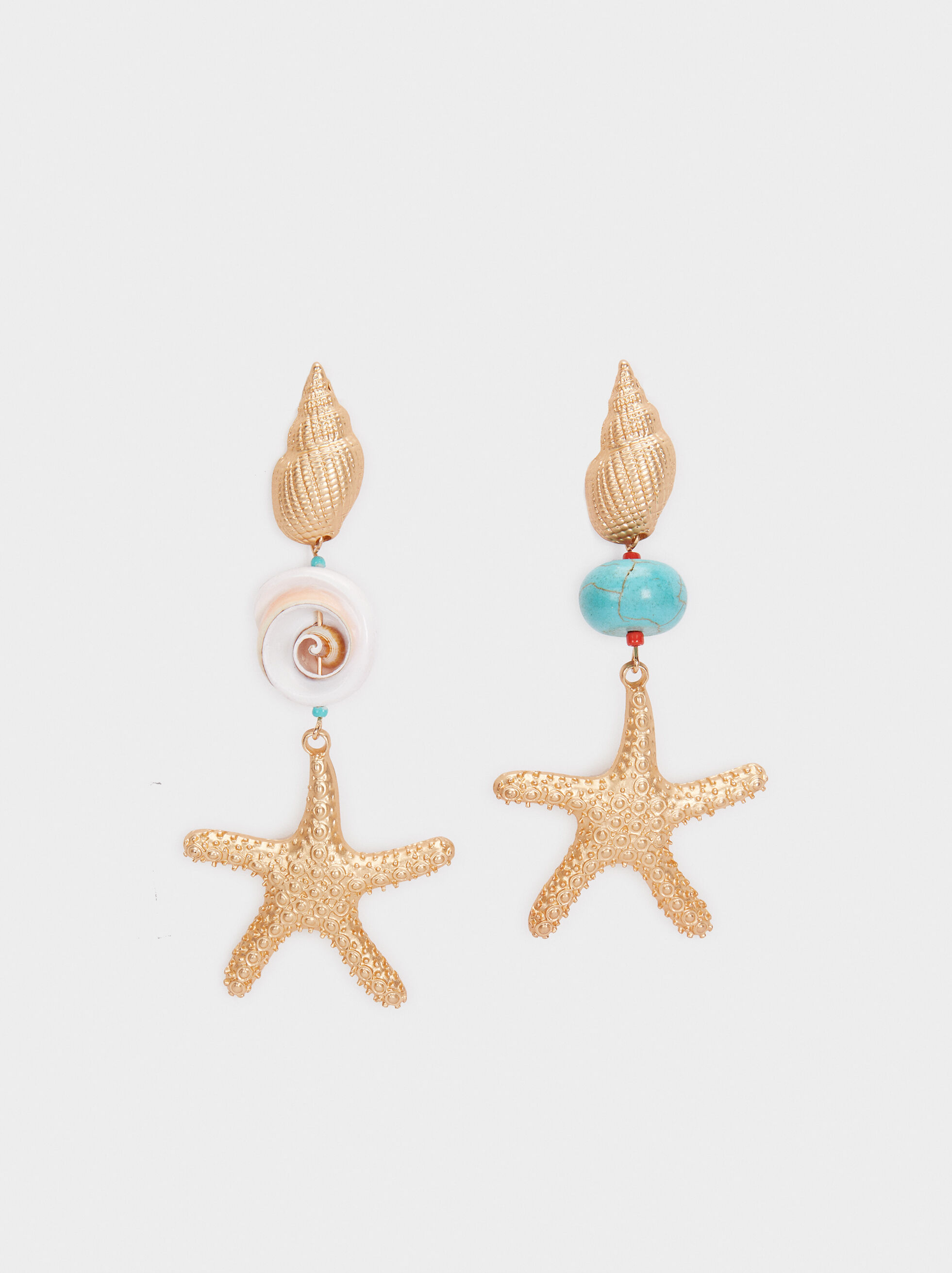 Recife Long Dangle Earrings With Stars, Beige, hi-res